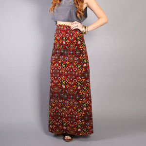 Dresses & Skirts - Vintage Maxi 70s Print High Waist Skirt